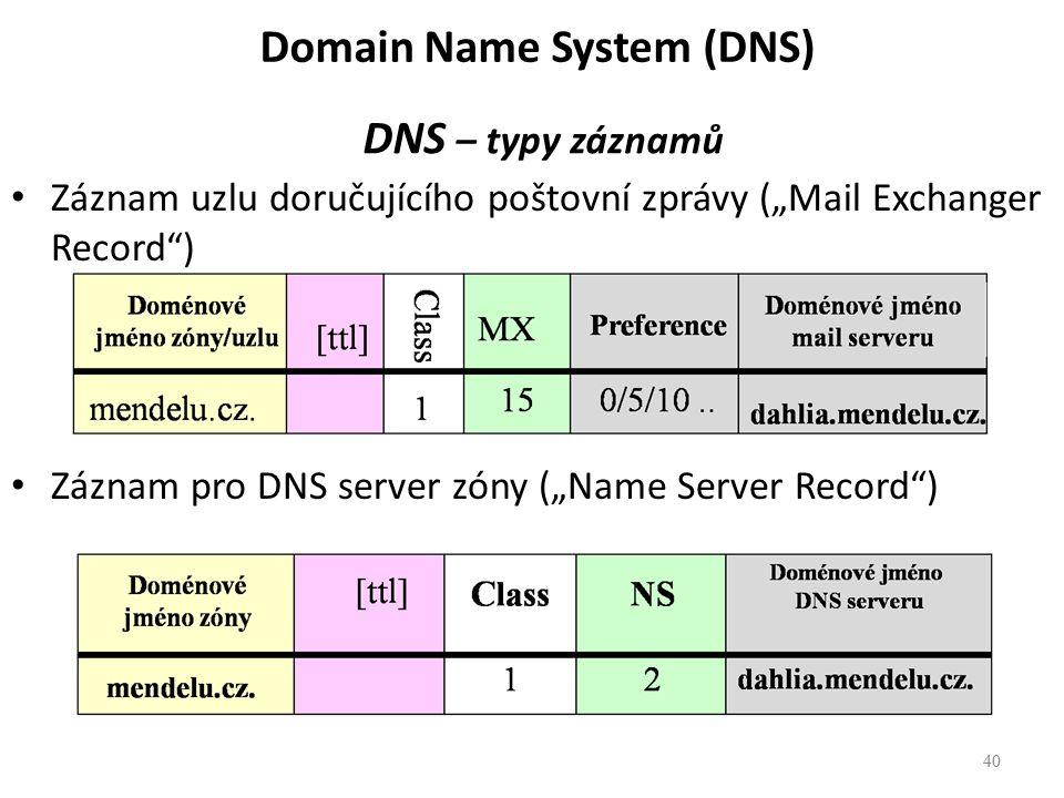 """40 DNS – typy záznamů Záznam uzlu doručujícího poštovní zprávy (""""Mail Exchanger Record ) Záznam pro DNS server zóny (""""Name Server Record ) 40 Domain Name System (DNS)"""