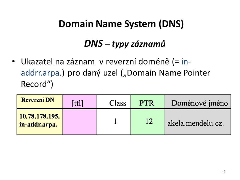 """41 DNS – typy záznamů Ukazatel na záznam v reverzní doméně (= in- addrr.arpa.) pro daný uzel (""""Domain Name Pointer Record ) 41 Domain Name System (DNS)"""