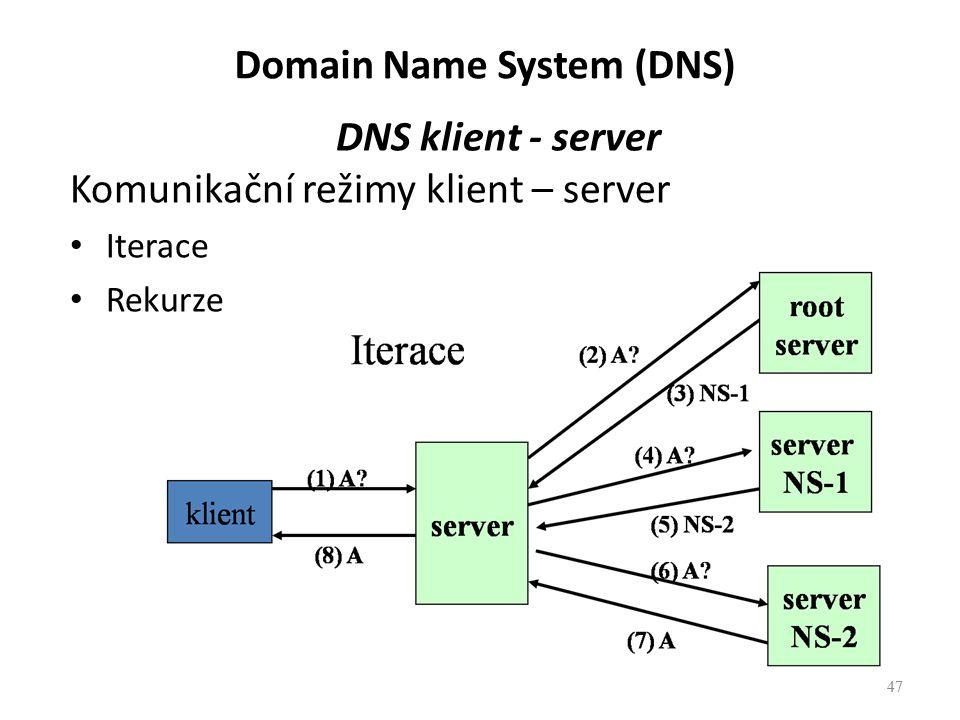 47 DNS klient - server Komunikační režimy klient – server Iterace Rekurze 47 Domain Name System (DNS)
