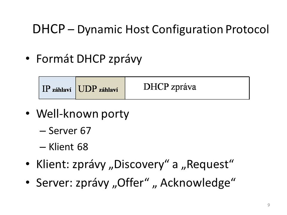 "9 DHCP – Dynamic Host Configuration Protocol Formát DHCP zprávy Well-known porty – Server 67 – Klient 68 Klient: zprávy ""Discovery"" a ""Request"" Server"