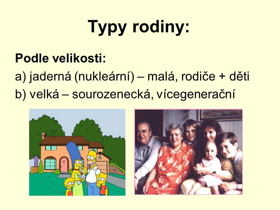 Typy rodiny: Podle velikosti: a) jaderná (nukleární) – malá, rodiče + děti b) velká – sourozenecká, vícegenerační