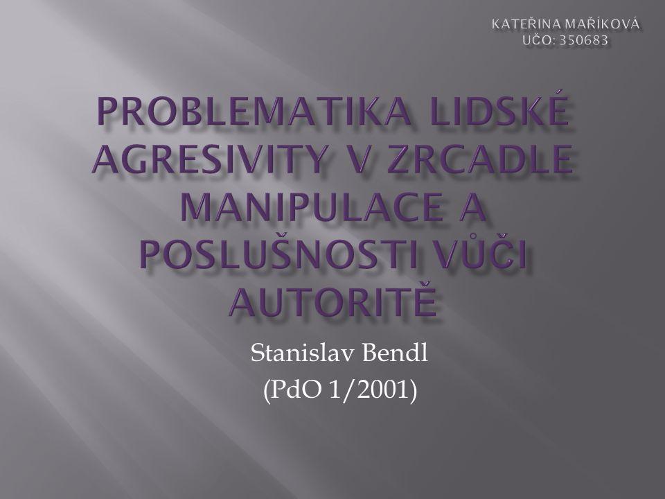 Stanislav Bendl (PdO 1/2001)