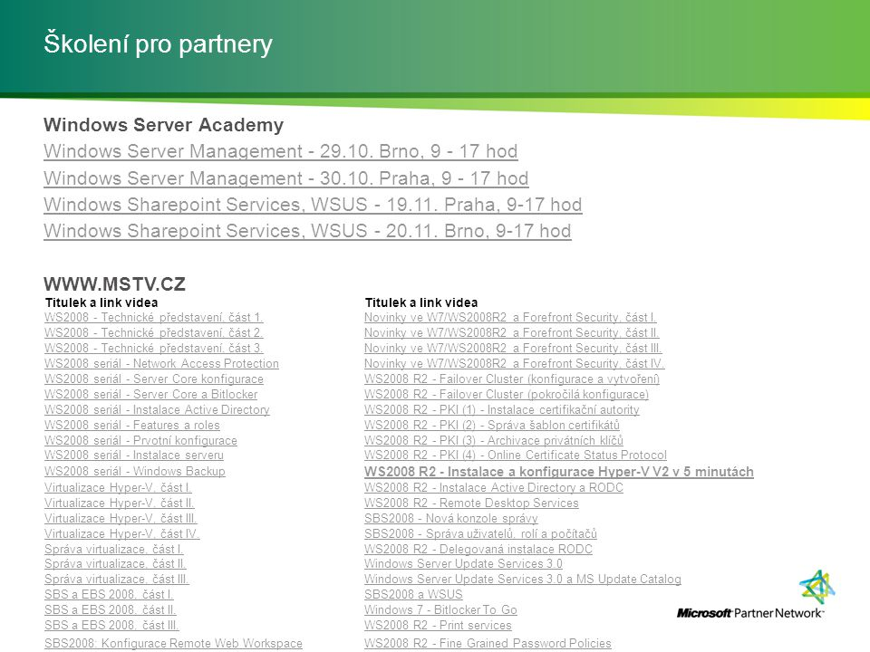 Školení pro partnery Windows Server Academy Windows Server Management - 29.10.