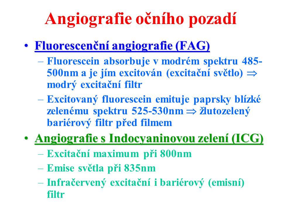 Angiografie očního pozadí Fluorescenční angiografie (FAG)Fluorescenční angiografie (FAG) –Fluorescein absorbuje v modrém spektru 485- 500nm a je jím e