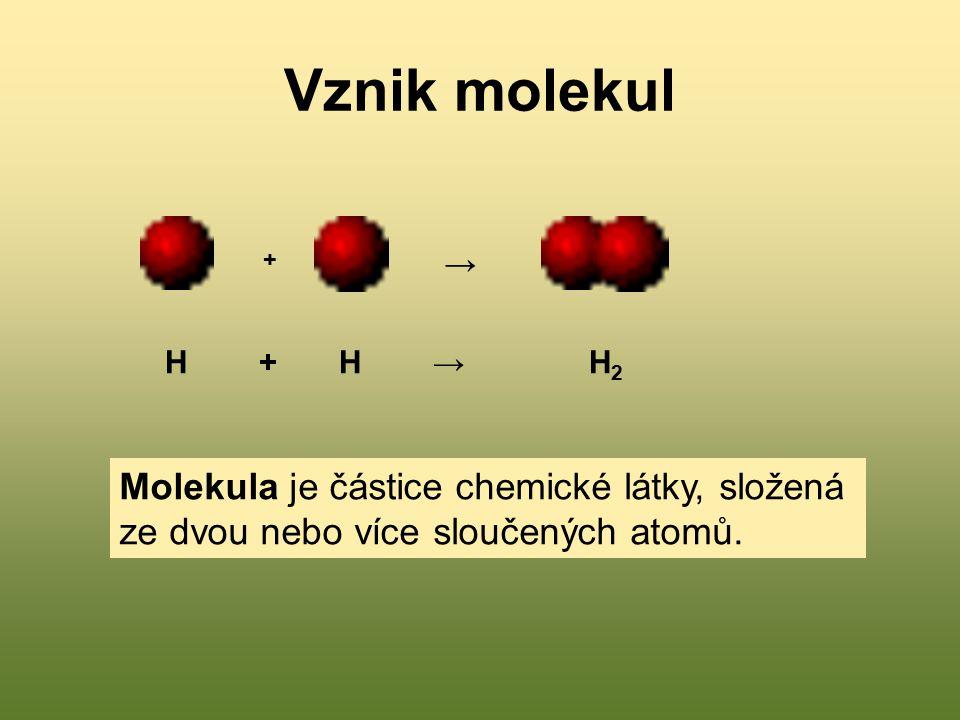 Vznik molekul H + H → H 2 + → Molekula je částice chemické látky, složená ze dvou nebo více sloučených atomů.