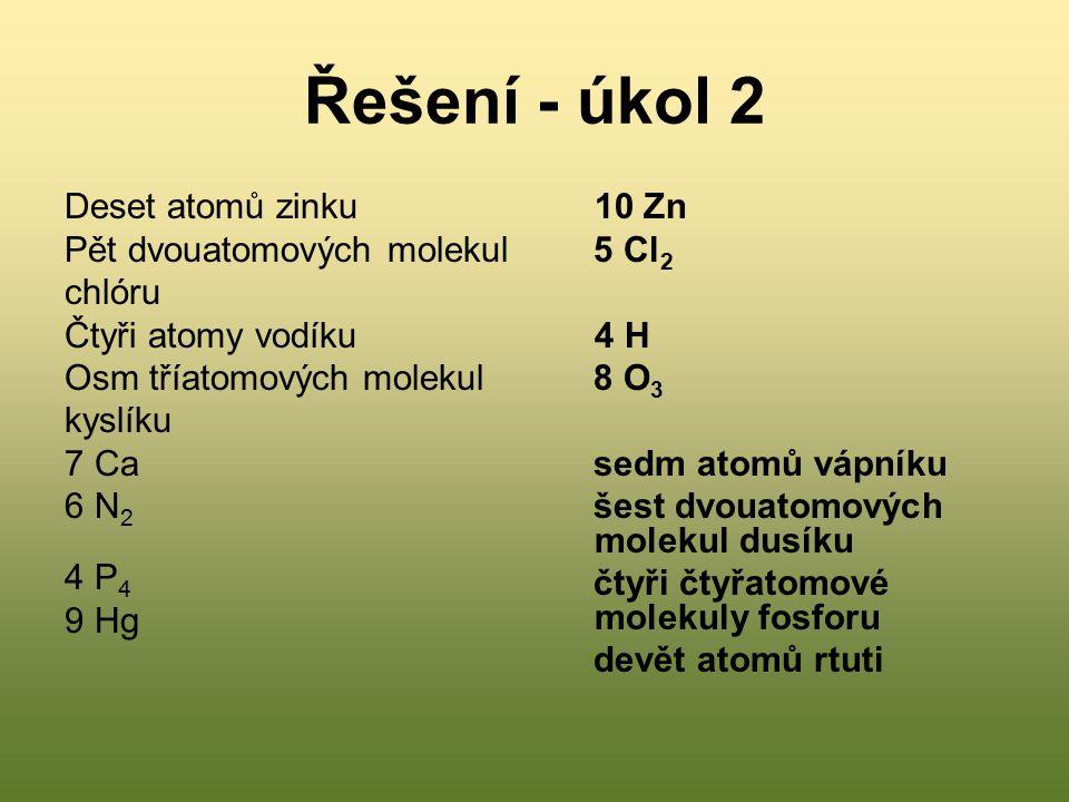 Řešení - úkol 2 Deset atomů zinku Pět dvouatomových molekul chlóru Čtyři atomy vodíku Osm tříatomových molekul kyslíku 7 Ca 6 N 2 4 P 4 9 Hg 10 Zn 5 C