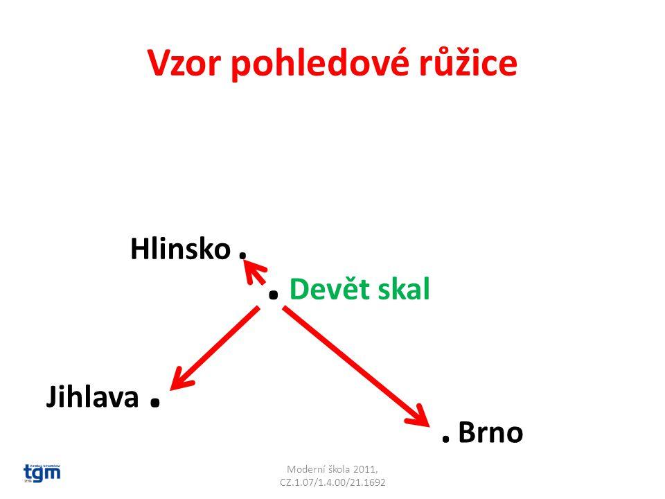 Vzor pohledové růžice Moderní škola 2011, CZ.1.07/1.4.00/21.1692. Devět skal Jihlava. Hlinsko.. Brno