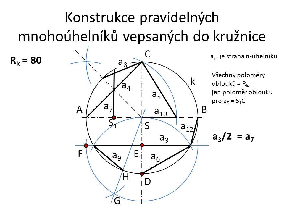Konstrukce pravidelných mnohoúhelníků vepsaných do kružnice a n je strana n-úhelníku a4a4 R k = 80 a7a7 a8a8 a5a5 a6a6 a 12 a3a3 a9a9 S AB C D S1S1 EF G H a 3 /2 = a 7 k Všechny poloměry oblouků = R k, jen poloměr oblouku pro a 5 = S 1 C a 10