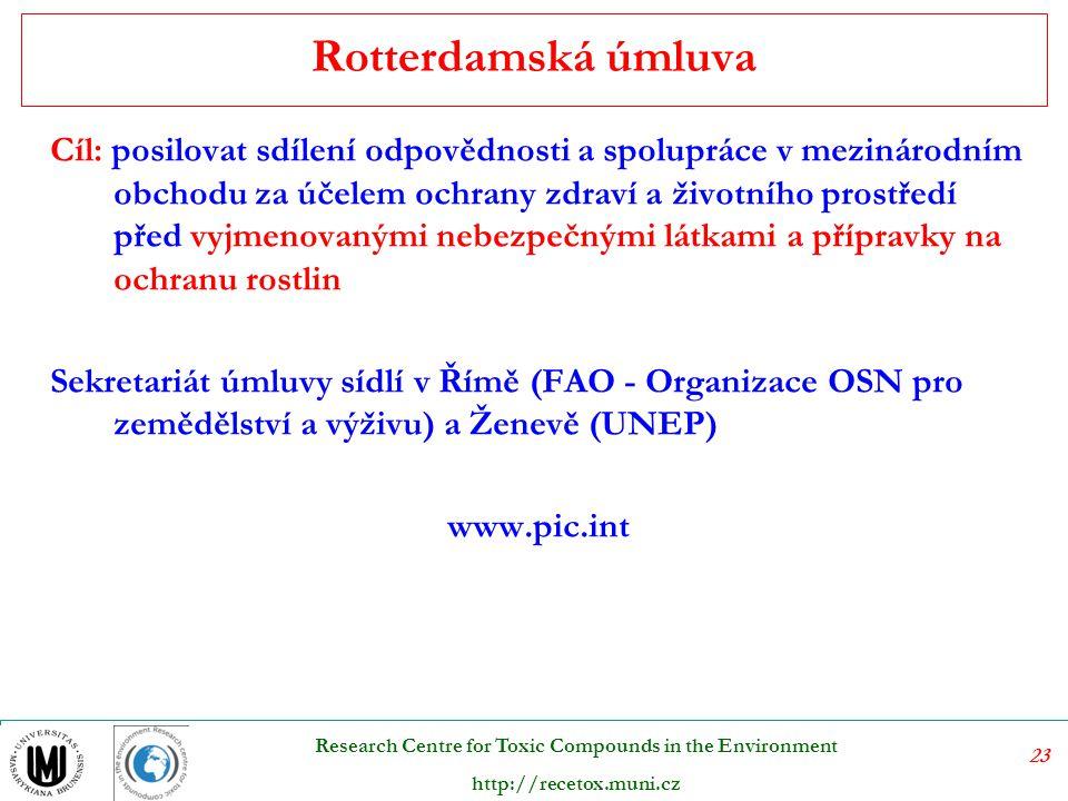 23 Research Centre for Toxic Compounds in the Environment http://recetox.muni.cz Rotterdamská úmluva Cíl: posilovat sdílení odpovědnosti a spolupráce v mezinárodním obchodu za účelem ochrany zdraví a životního prostředí před vyjmenovanými nebezpečnými látkami a přípravky na ochranu rostlin Sekretariát úmluvy sídlí v Římě (FAO - Organizace OSN pro zemědělství a výživu) a Ženevě (UNEP) www.pic.int