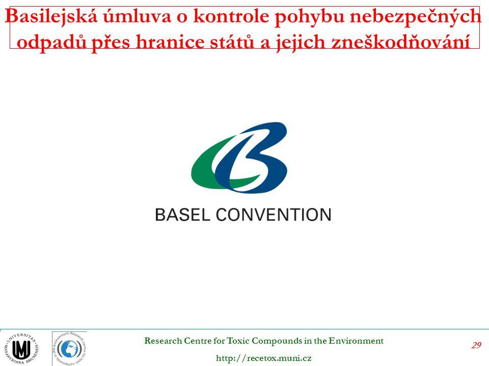29 Research Centre for Toxic Compounds in the Environment http://recetox.muni.cz Basilejská úmluva o kontrole pohybu nebezpečných odpadů přes hranice států a jejich zneškodňování