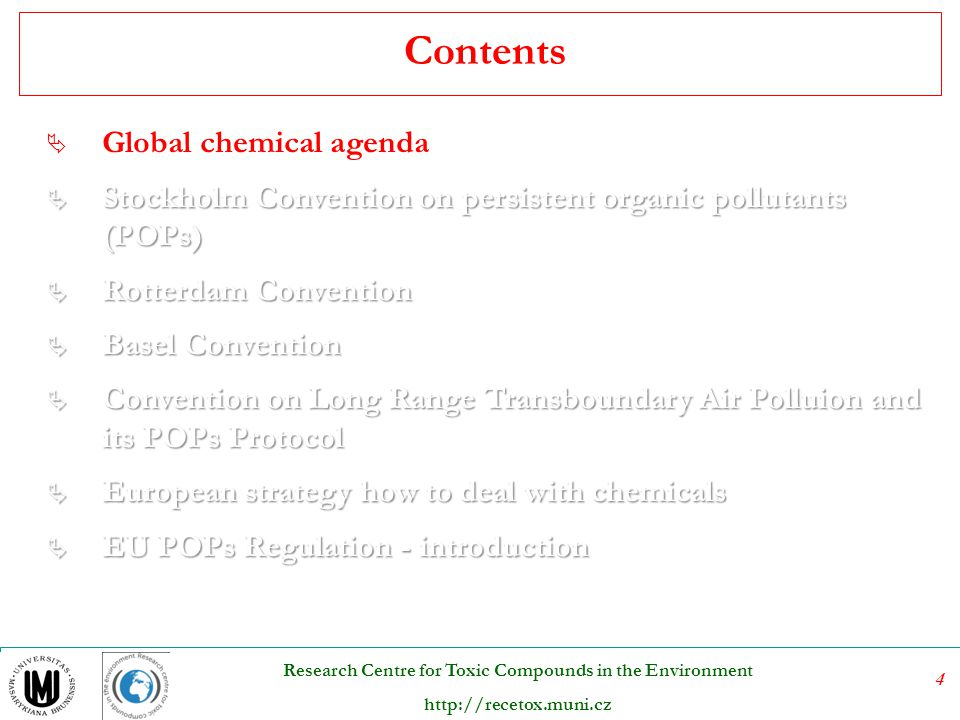 75 Research Centre for Toxic Compounds in the Environment http://recetox.muni.cz Sound management of POPs by-products Sound management of POPs by-products = sound management of their release sources PROCESS SPECIFIC MANAGEMENT Basic possible approaches: Ä Alternatives (alternatives with similar usefulness but avoiding POPs releases) Ä Primary measures (targeted onto the process-BAT, BEP, cleaner technologies) Ä Secondary measures (end-of-pipe- BACT) Management of releases targeted to a particular pollutant will influence releases of other pollutants