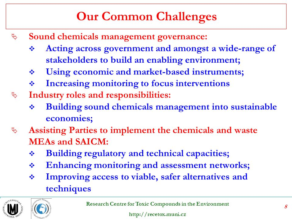 79 Research Centre for Toxic Compounds in the Environment http://recetox.muni.cz The following provisional definition for levels of destruction and irreversible transformation, based upon absolute levels (i.e., waste output streams of treatment processes) should be applied: (a) Atmospheric emissions: PCDDs and PCDFs: 0.1 ng TEQ Nm -3 ; All other POPs: pertinent national legislation and international rules, standards and guidelines, examples of pertinent national legislation can be found in annex II; Determined according to national or international methods and standards.
