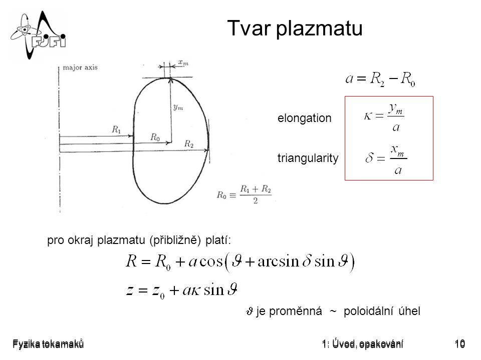 Fyzika tokamaků1: Úvod, opakování10 Tvar plazmatu elongation triangularity je proměnná ~ poloidální úhel pro okraj plazmatu (přibližně) platí: Fyzika