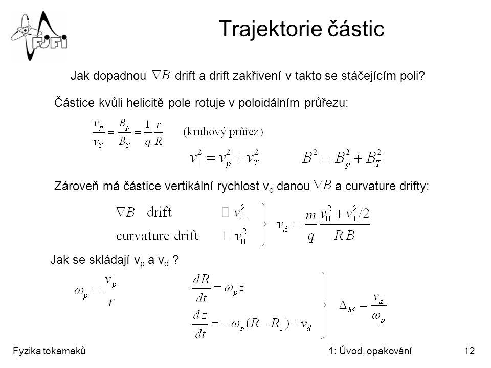 Fyzika tokamaků1: Úvod, opakování12 Trajektorie částic Jak dopadnou drift a drift zakřivení v takto se stáčejícím poli? Částice kvůli helicitě pole ro