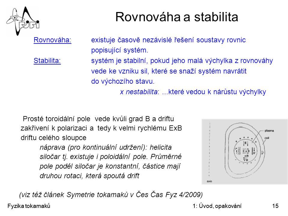 Fyzika tokamaků1: Úvod, opakování15 Rovnováha a stabilita Rovnováha: existuje časově nezávislé řešení soustavy rovnic popisující systém. Stabilita:sys