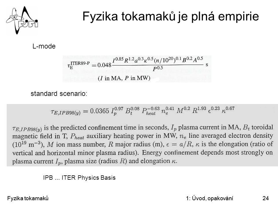 Fyzika tokamaků1: Úvod, opakování24 Fyzika tokamaků je plná empirie L-mode standard scenario: IPB... ITER Physics Basis Fyzika tokamaků1: Úvod, opakov