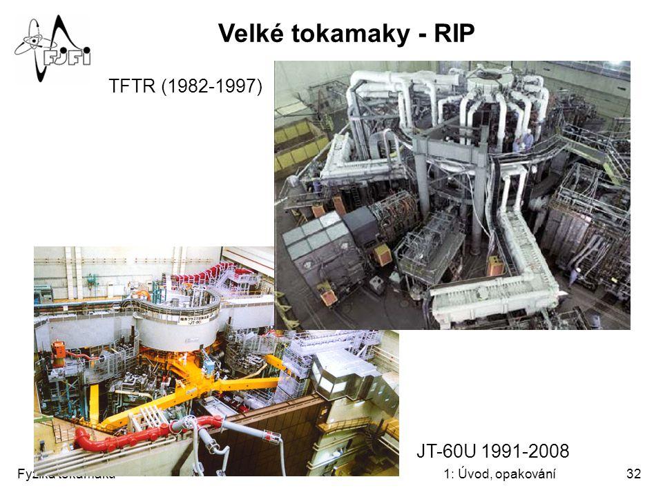 Fyzika tokamaků1: Úvod, opakování32 Velké tokamaky - RIP TFTR (1982-1997) JT-60U 1991-2008