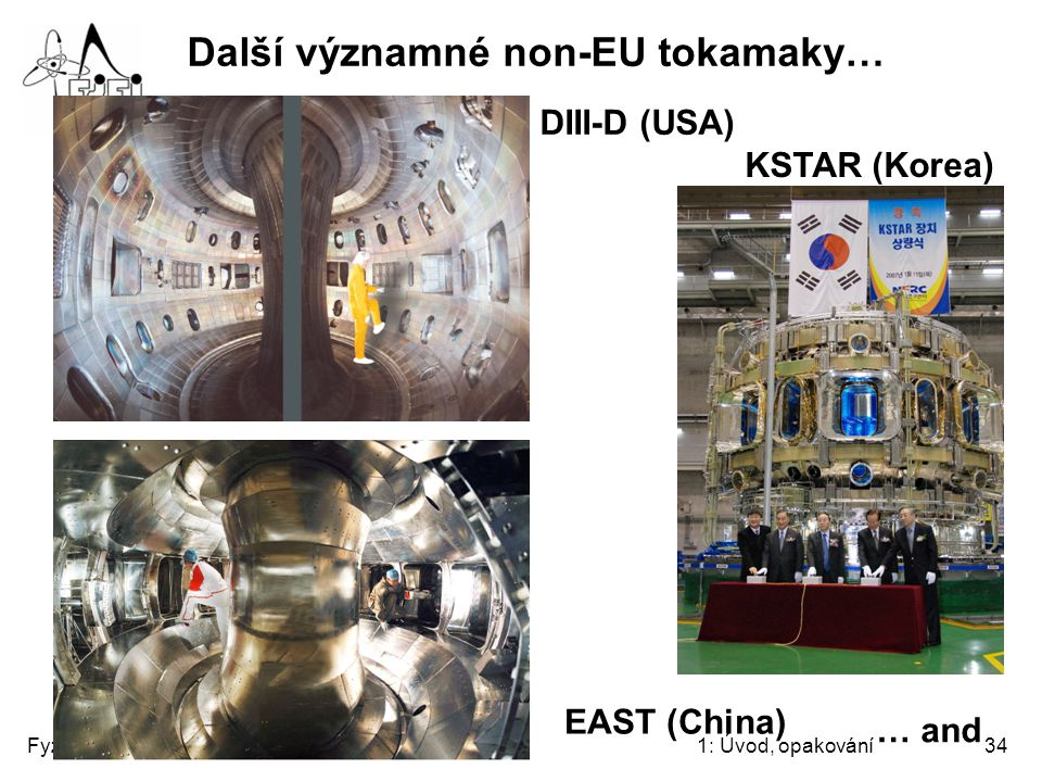 Fyzika tokamaků1: Úvod, opakování34 Další významné non-EU tokamaky… DIII-D (USA) EAST (China) KSTAR (Korea) … and
