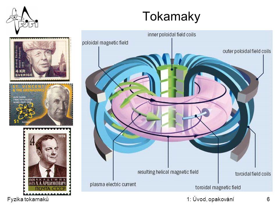 """Fyzika tokamaků1: Úvod, opakování6 Tokamaky """"TOroidalnaja KAtushka i MAgnitnij toK"""""""