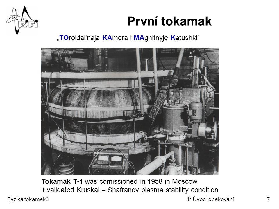 Fyzika tokamaků1: Úvod, opakování7 První tokamak Tokamak T-1 was comissioned in 1958 in Moscow it validated Kruskal – Shafranov plasma stability condi