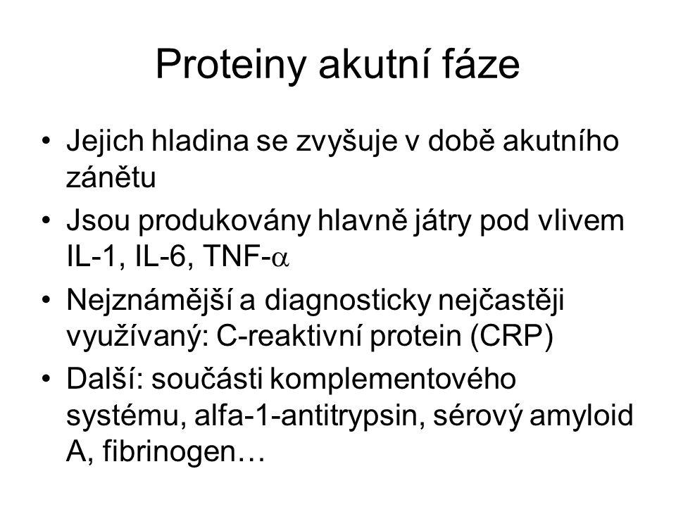 Proteiny akutní fáze Jejich hladina se zvyšuje v době akutního zánětu Jsou produkovány hlavně játry pod vlivem IL-1, IL-6, TNF-  Nejznámější a diagnosticky nejčastěji využívaný: C-reaktivní protein (CRP) Další: součásti komplementového systému, alfa-1-antitrypsin, sérový amyloid A, fibrinogen…