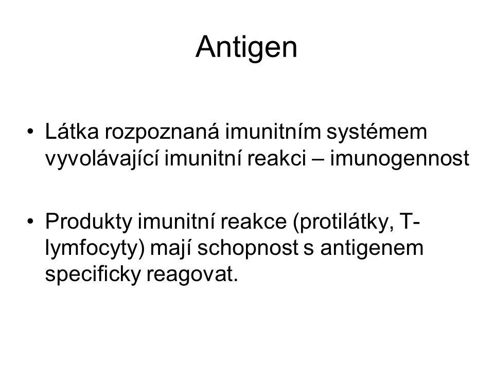 Antigen Látka rozpoznaná imunitním systémem vyvolávající imunitní reakci – imunogennost Produkty imunitní reakce (protilátky, T- lymfocyty) mají schopnost s antigenem specificky reagovat.