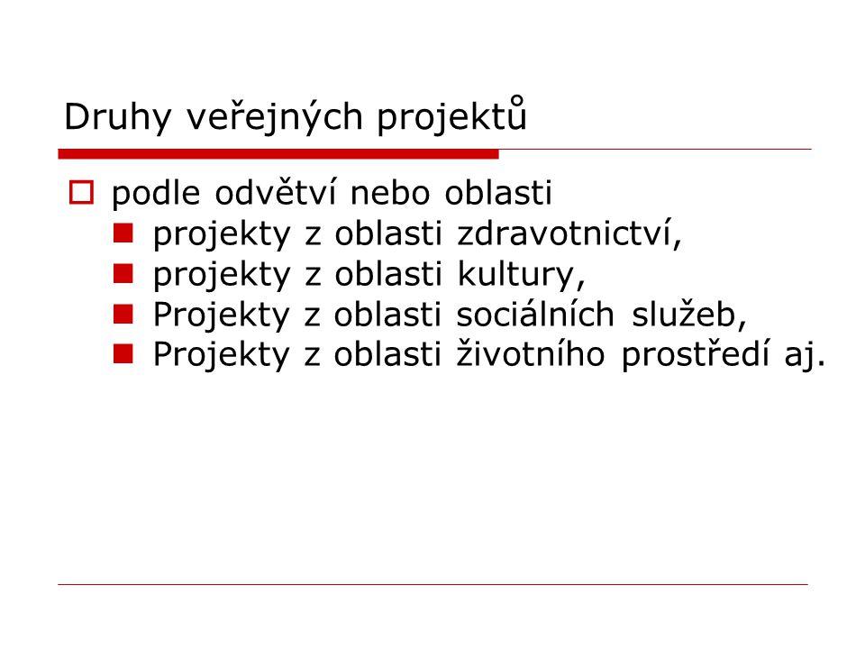 Druhy veřejných projektů  podle odvětví nebo oblasti projekty z oblasti zdravotnictví, projekty z oblasti kultury, Projekty z oblasti sociálních služ