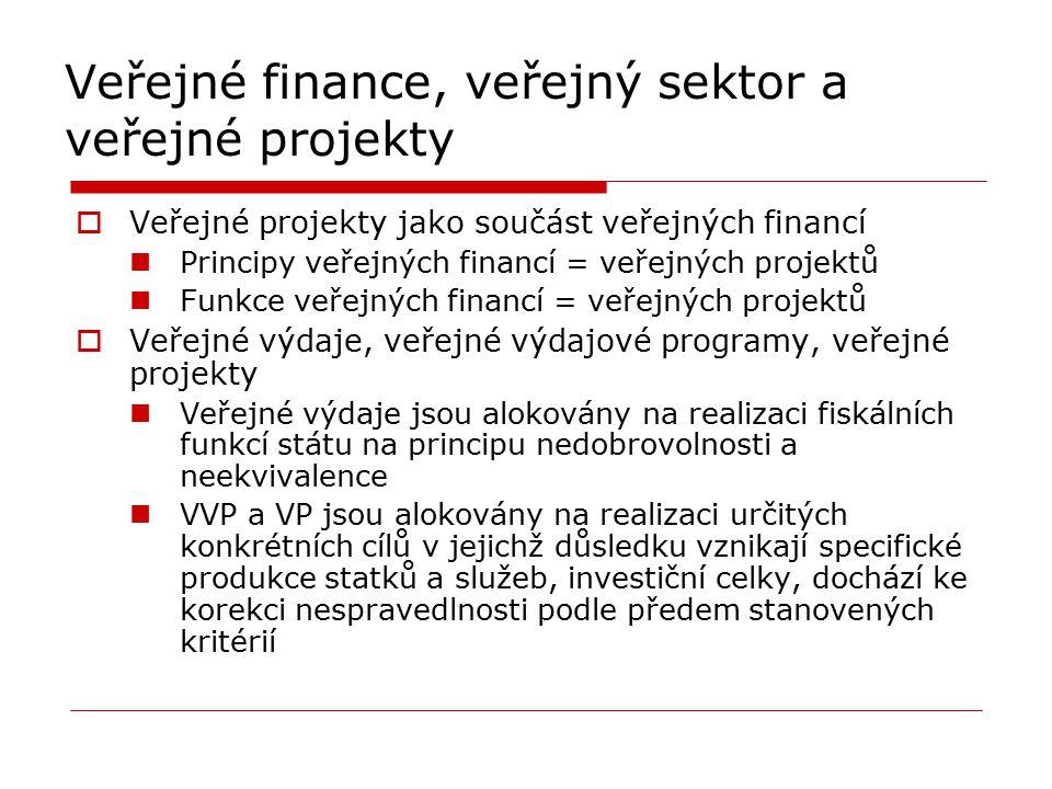 Veřejné finance, veřejný sektor a veřejné projekty  Veřejné projekty jako součást veřejných financí Principy veřejných financí = veřejných projektů F
