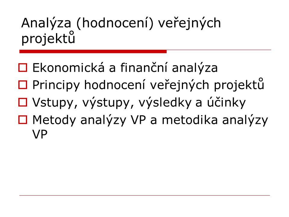 Analýza (hodnocení) veřejných projektů  Ekonomická a finanční analýza  Principy hodnocení veřejných projektů  Vstupy, výstupy, výsledky a účinky 