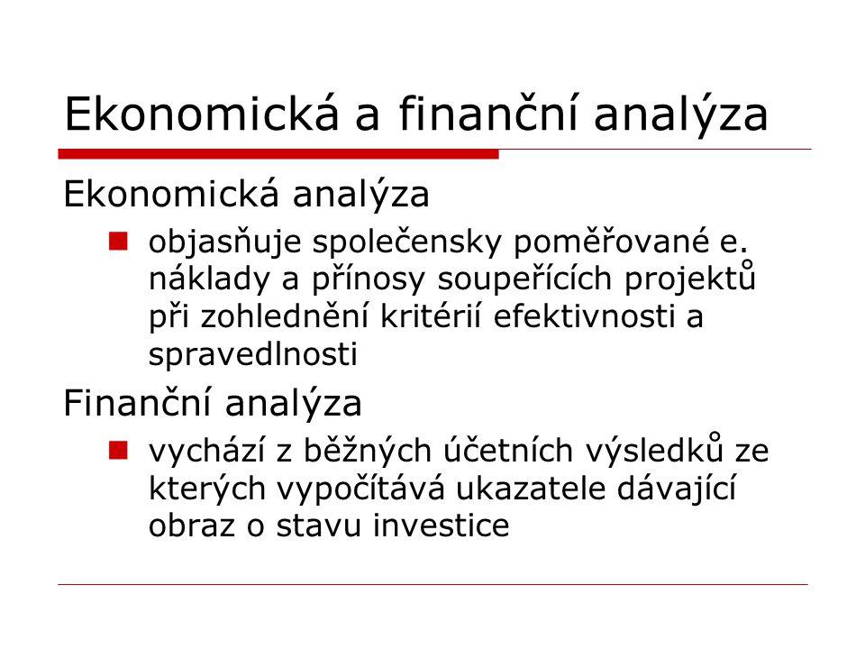 Ekonomická a finanční analýza Ekonomická analýza objasňuje společensky poměřované e. náklady a přínosy soupeřících projektů při zohlednění kritérií ef
