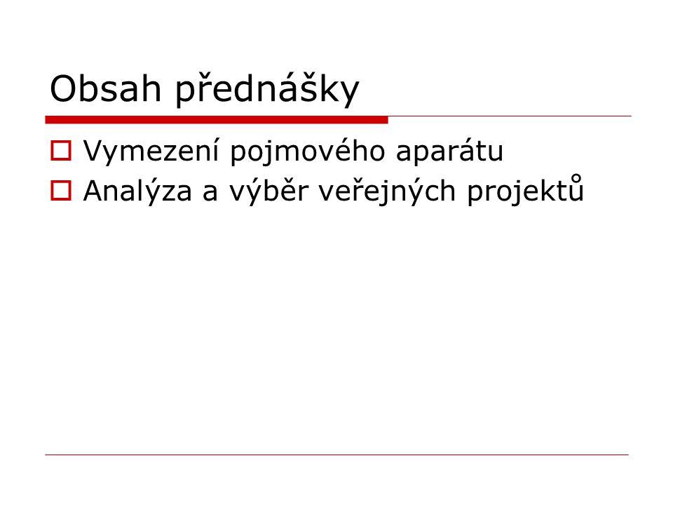 Obsah přednášky  Vymezení pojmového aparátu  Analýza a výběr veřejných projektů