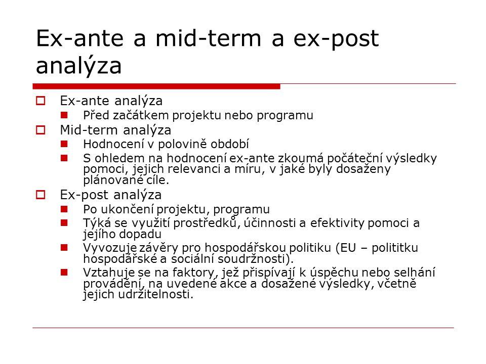 Ex-ante a mid-term a ex-post analýza  Ex-ante analýza Před začátkem projektu nebo programu  Mid-term analýza Hodnocení v polovině období S ohledem n