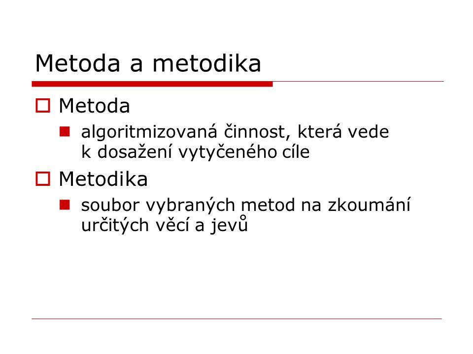 Metoda a metodika  Metoda algoritmizovaná činnost, která vede k dosažení vytyčeného cíle  Metodika soubor vybraných metod na zkoumání určitých věcí