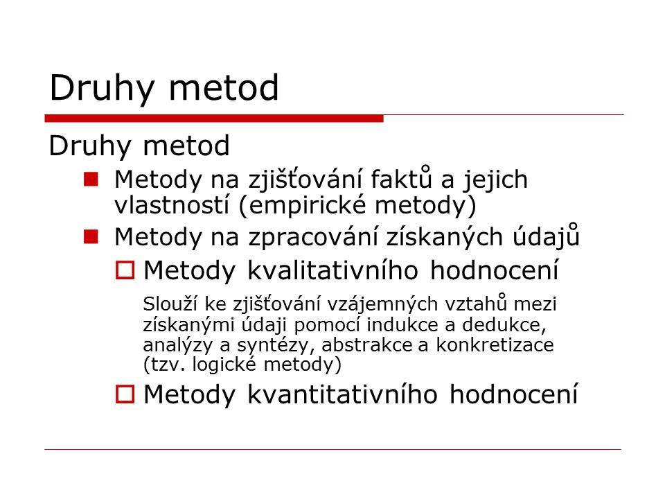 Druhy metod Metody na zjišťování faktů a jejich vlastností (empirické metody) Metody na zpracování získaných údajů  Metody kvalitativního hodnocení S