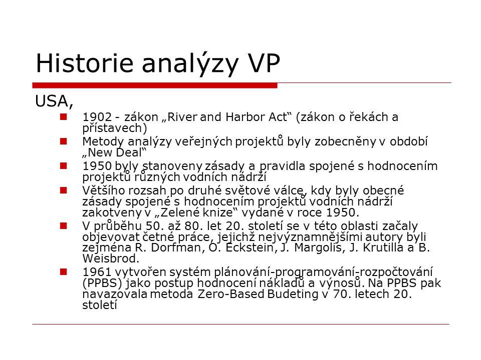 """Historie analýzy VP USA, 1902 - zákon """"River and Harbor Act"""" (zákon o řekách a přístavech) Metody analýzy veřejných projektů byly zobecněny v období """""""