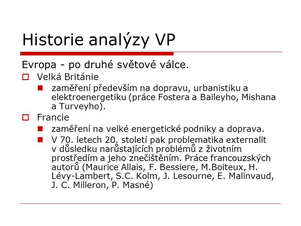 Historie analýzy VP Evropa - po druhé světové válce.  Velká Británie zaměření především na dopravu, urbanistiku a elektroenergetiku (práce Fostera a