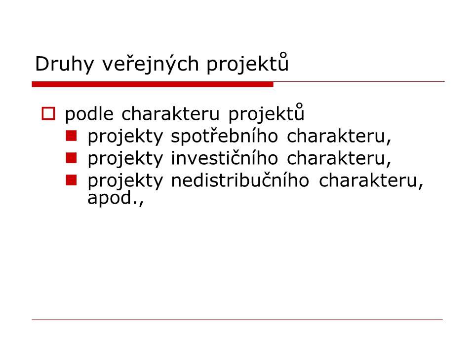 Druhy veřejných projektů  podle charakteru projektů projekty spotřebního charakteru, projekty investičního charakteru, projekty nedistribučního chara