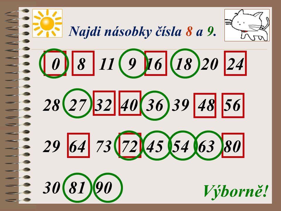 Pracujeme s násobky 7. 0, 7, 14, 21, 28, 35, 42, 49, 56, 63, 70 9 : 7 = 15 : 7 = 20 : 7 = 33 : 7 = 46 : 7 = 50 : 7 = 53 : 7 = 62 : 7 = 69 : 7 = 1(zb.