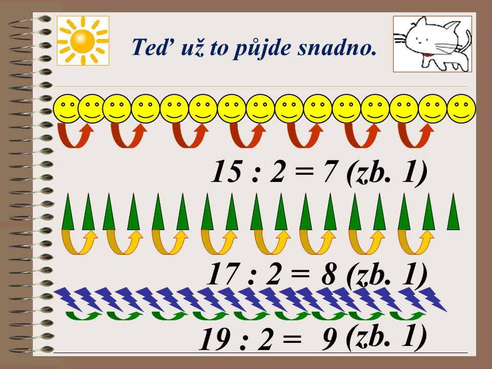 Pokračujeme s dalšími příklady. 9 : 2 =4 (zb. 1) 11 : 2 =5 (zb. 1) 13 : 2 =6 (zb. 1) Výborně!