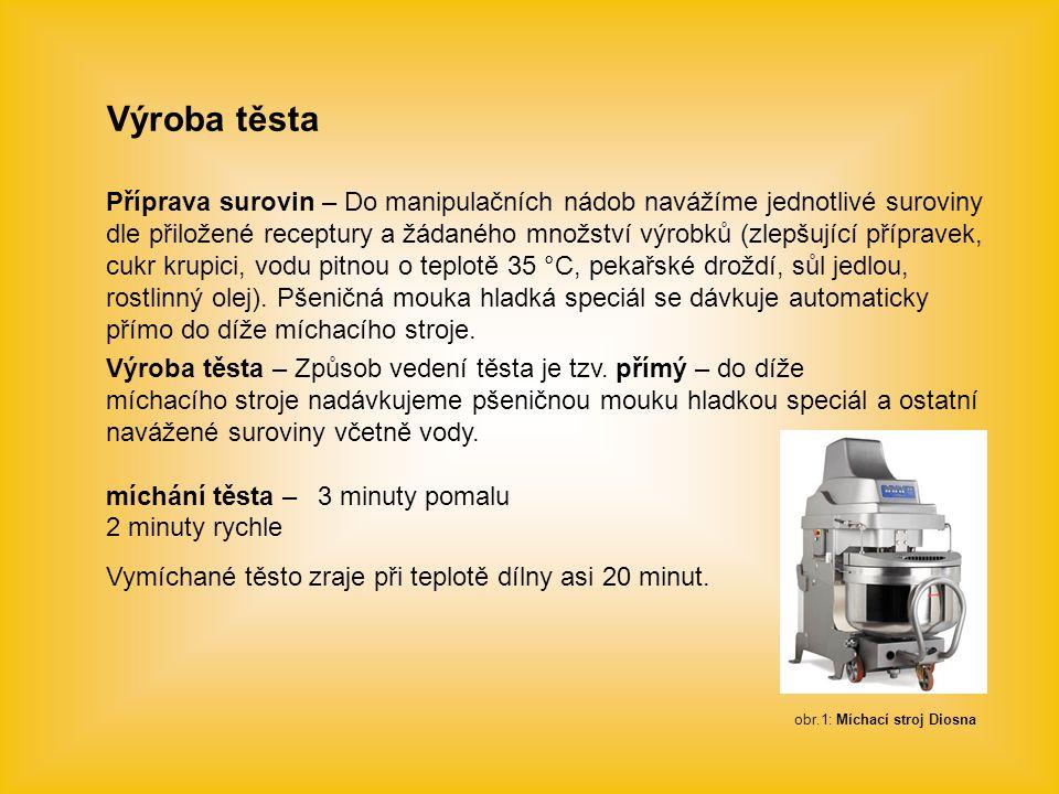 Výroba těsta Příprava surovin – Do manipulačních nádob navážíme jednotlivé suroviny dle přiložené receptury a žádaného množství výrobků (zlepšující př