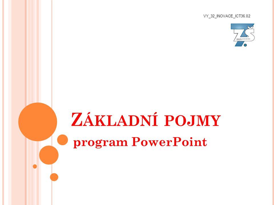 Z ÁKLADNÍ POJMY program PowerPoint VY_32_INOVACE_ICT36.02