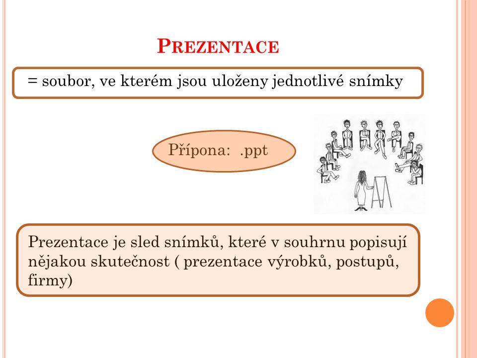 P REZENTACE = soubor, ve kterém jsou uloženy jednotlivé snímky Přípona:.ppt Prezentace je sled snímků, které v souhrnu popisují nějakou skutečnost ( prezentace výrobků, postupů, firmy)