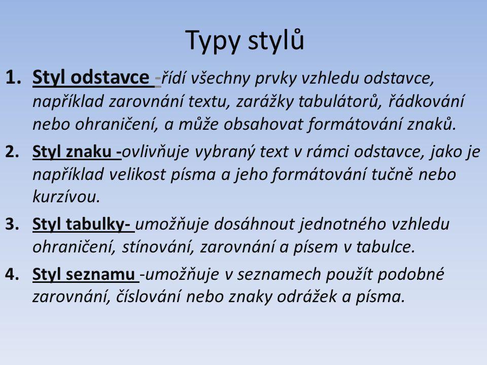 Typy stylů 1.Styl odstavce - řídí všechny prvky vzhledu odstavce, například zarovnání textu, zarážky tabulátorů, řádkování nebo ohraničení, a může obs