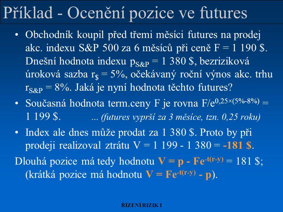 ŘÍZENÍ RIZIK I Příklad - Ocenění pozice ve futures Obchodník koupil před třemi měsíci futures na prodej akc.