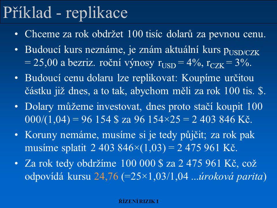 ŘÍZENÍ RIZIK I Příklad - replikace Chceme za rok obdržet 100 tisíc dolarů za pevnou cenu.