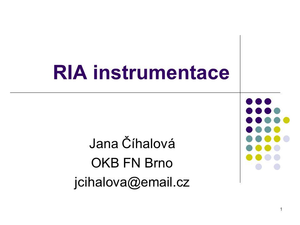 2 RIA instrumentace Radioizotopové metody Radioindikátorové značenky- 125 I Detekce ionizujícího záření Popis přístrojů v klin.laboratořích RIA -princip detekce gama záření Kalibrace a metrologie přístroje