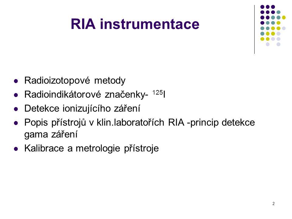3 Radioizotopové metody Využívají ve svém principu základní vlastnosti radioizotopů – ionizující záření interakce ionizujícího záření s hmotou: excitace (emitace energie) a ionizace (tvorba nabitých iontů) Radioinuklidy se používají v imunoanalýzách ke značení imunokomplexu Ag-Ab Měří se radioaktivita záření Citlivé, specifické, levné metody, 10 -9 - 10 -12 mol/l RIA, IRMA, RRA (TRAK), REA (nukleotidy)