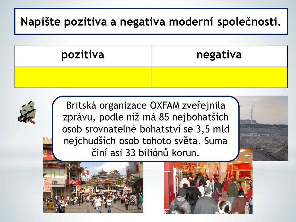 Napište pozitiva a negativa moderní společnosti.