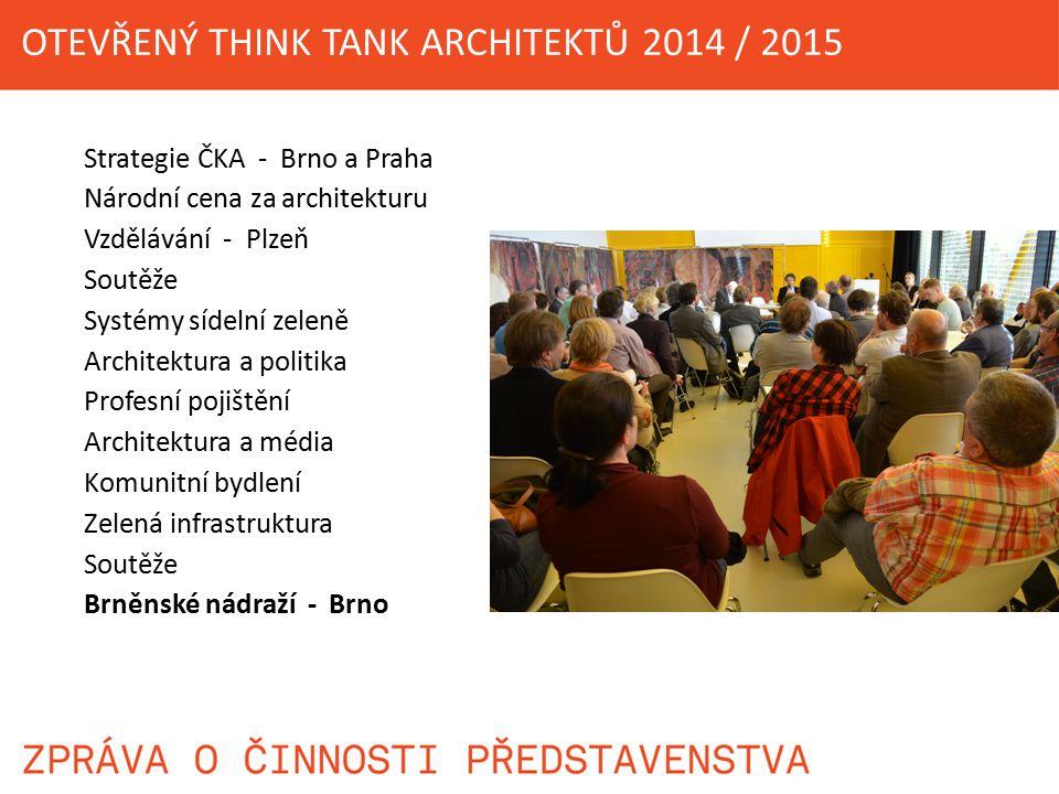 Strategie ČKA - Brno a Praha Národní cena za architekturu Vzdělávání - Plzeň Soutěže Systémy sídelní zeleně Architektura a politika Profesní pojištění