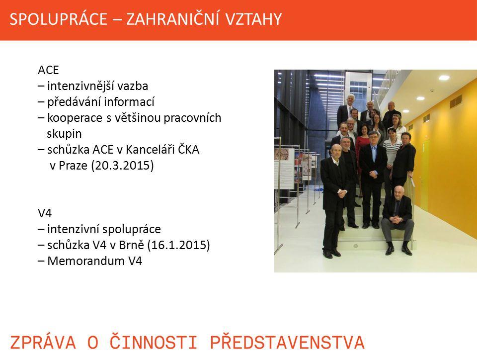 ACE – intenzivnější vazba – předávání informací – kooperace s většinou pracovních skupin – schůzka ACE v Kanceláři ČKA v Praze (20.3.2015) V4 – intenz